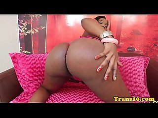 Ebony tgirl posing booty and tugging her cock