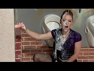 Bukkake whore gets fake gloryhole facial