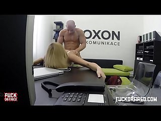Horny blonde secretary fucks her boss in the office