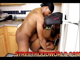 Ebony fucked hard on kitchen counter