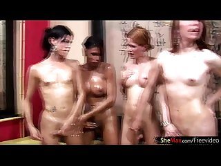 T Girl hotties enjoy Hot and wild Foursome oil fuck Massage