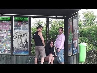 Extreme young busty woman fucked by 2 guys at a bus stop in the middle of a day