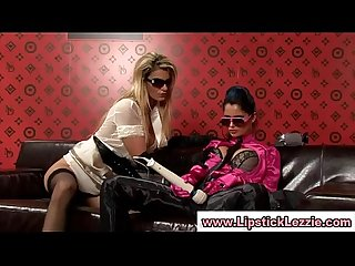 Classy european lesbians play with their pussies with a toy