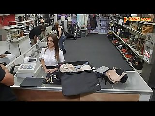 Latina stewardess fucked at the pawnshop