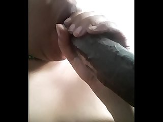 Early morning black cock gag session ft sloppy spit