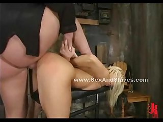 Blonde slut gets spanking lessons