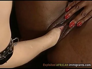 Beautiful African immigrant in bdsm 3some with german couple