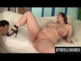 Sexy Plumper Angel DeLuca Serves Her Man with High Heels and Shaved Pussy