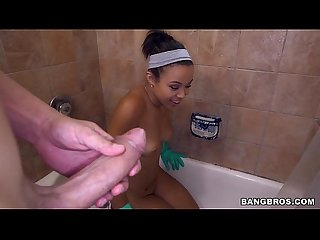 Cute maid shower blowjob