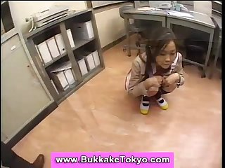Japanese teen in miniskirt bukkaked