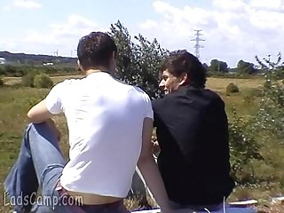Cute mates get from a chat to a gay fuck outdoors