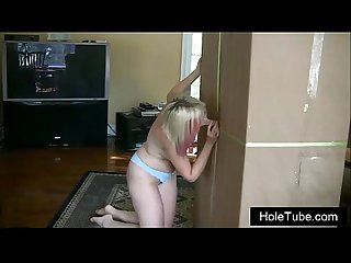 Homemade Blonde Glory Hole - Evilynn gets a birthday present