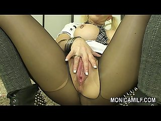 MonicaMilf Orgasm in black nylons - Hot Norwegian porn