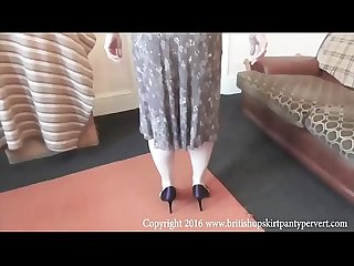The british upskirt panty pervert gets salyanne to lift her skirt