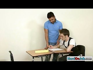 Teacher gets sucked by his student by hardonjob