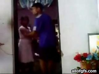 Shy indian vabi gets fucked by boyfriend in a doorway in standing position instacam pw