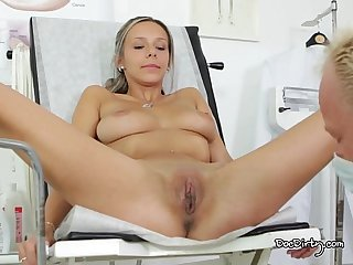 Horny tracy gets her pussy played with at the dirty doctors office
