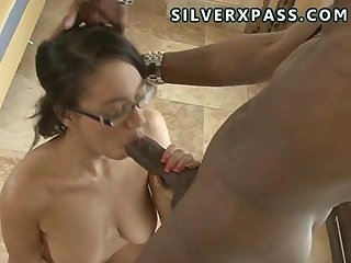 Teen sucks a huge cock