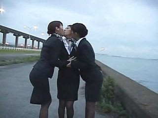 3 japanese lesbian airline stewardess girls kissing