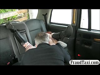 Redhead passenger screwed in the taxi