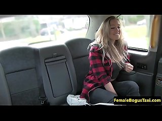 Female taxi driver pussylicking busty chick