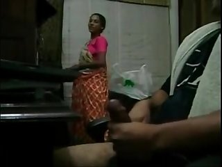 Alphamale jacking in front of maid