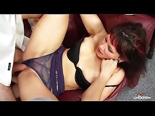 Dressed chubby assistant taste cum for very first time
