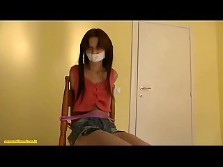 Female slave in bondage gets handgagged and handsmothered by Jessica
