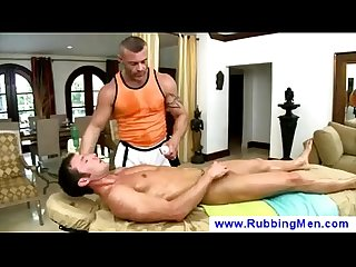 Gay gives boner an oily rub down