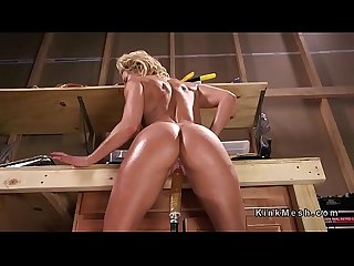 Huge ass blonde oils and fucks machine