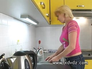 Blonde haired grannie Helena entertains Construction crew with her own body