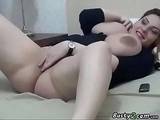 BBW with big tits masturbates front the webcam