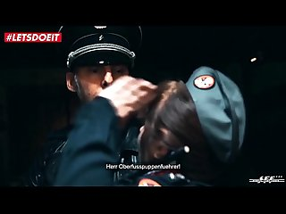 Abused brunette by German officer lady is not allowed to cum