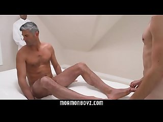 Submissive boy services two sexy Priest daddies