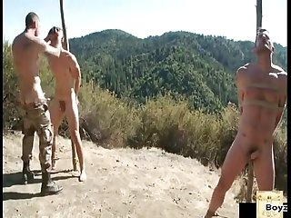 Daddy and boy prisoners outdoors