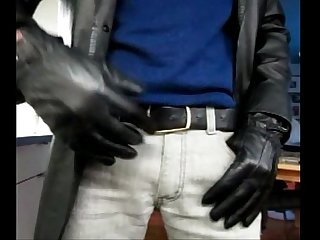 Jerking off with leather gloves onto black florsheim boot
