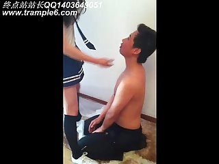 School girl trampling a man