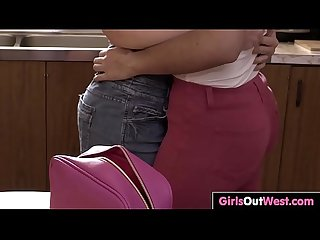 Dark haired Lesbians lick cunts in The kitchen