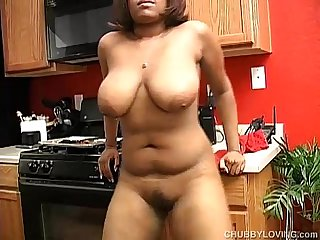 Tasty thick black chick fucks her fat juicy pussy 4 u