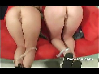 Blonde milf and small tit daughter using dildos
