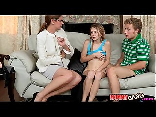 Strict stepmom Samantha Ryan and teen Ava Hardy share a cock