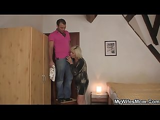 Blonde mother in law pleases him