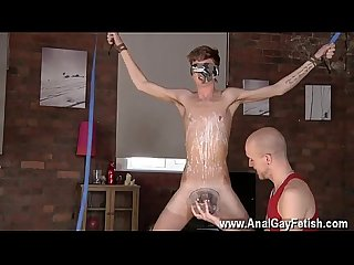 Gay fuck Kieron Knight likes to fellate the super hot spunk geyser