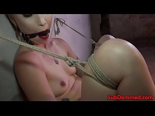 Blonde restrained bdsm sub pussy toyed by dom