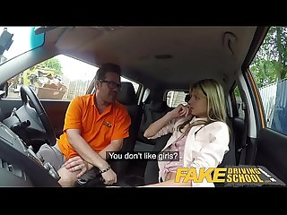 Fake driving school hot and lonely blonde Russian fucked to orgasm in car