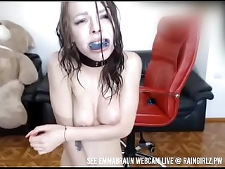 Raingirlz bdsm models punishes herself squirts and drinks it