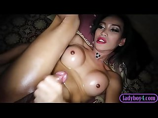 Big dick ladyboy sucks dick and bareback anal fucked