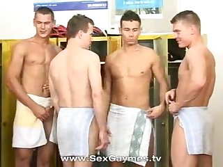 Gay locker room gangbang