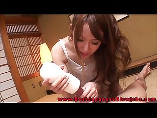hottest blowjob japanese babe uses toy on this lucky guy