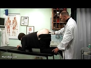 Old gay doctor probes his patient�s ass with dick